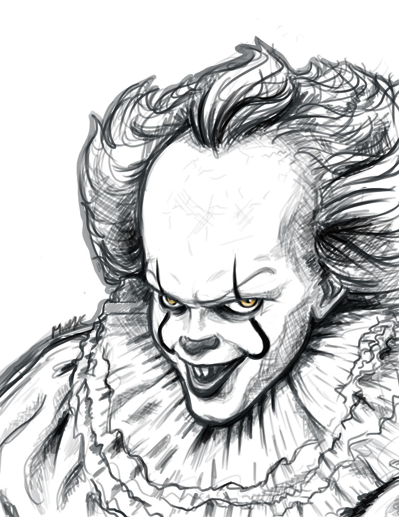 Messy portrait of pennywise қrazys blog creepy tattoos clown tattoo rose drawing