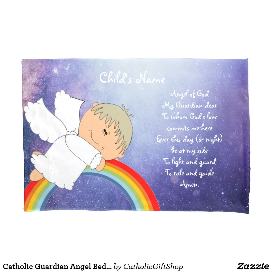 Catholic Guardian Angel Bedtime Prayer Named 2 Pillow Case Baptism