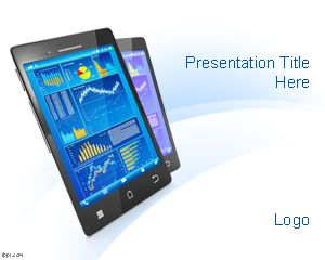 Free Mobile Device PowerPoint Template with white background