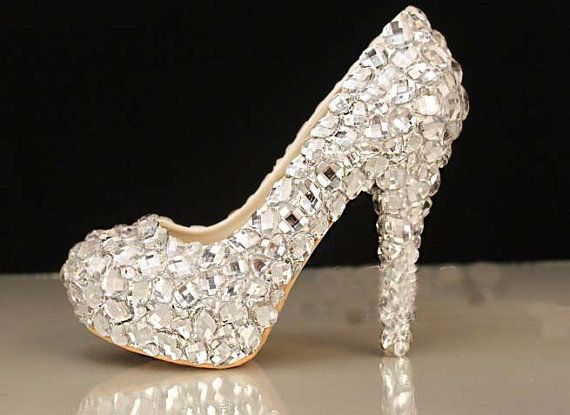 Sparkly High heels Crystal Wedding shoes Clear rhinestone Wedding heels bridal  shoes wedding pumps evening shoes party shoes on Etsy d181fb02547f