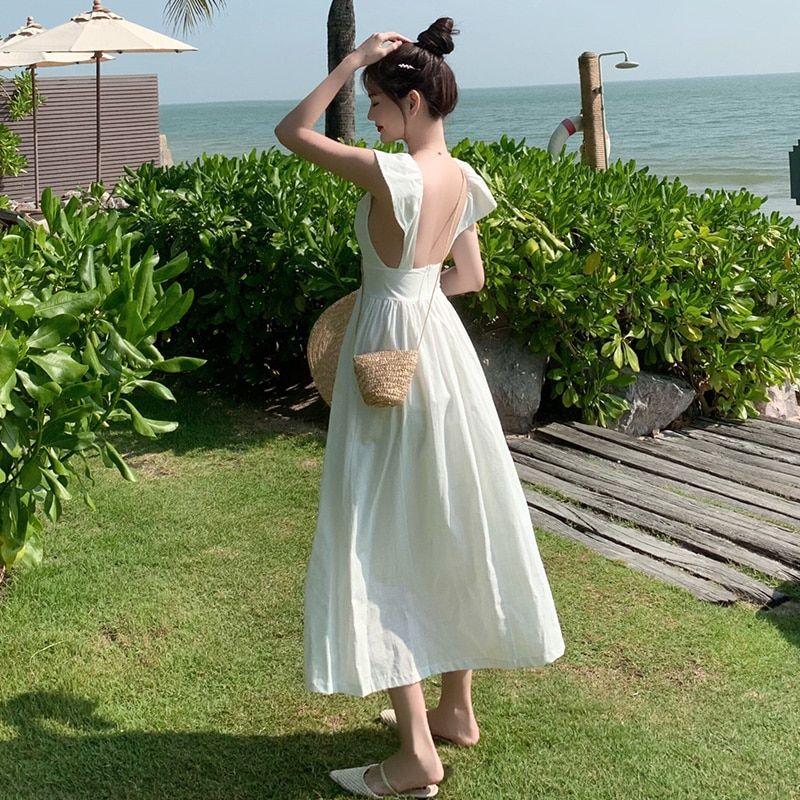 20.99US $ 40% OFF Long High Waist Women Linen Dress Summer 2020 Runway Elegant Party Dress Maxi Korean Japanese Backless  Beach Vacation Dresses Dresses    - AliExpress