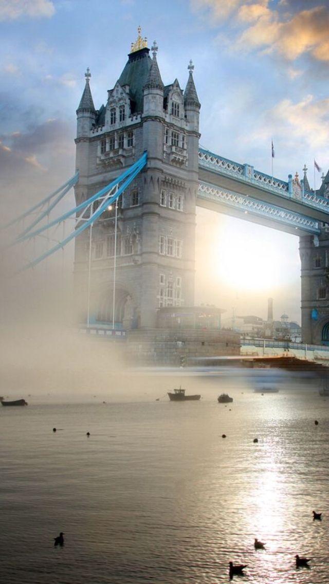 The Tower bridge shrouded in fog ~ London