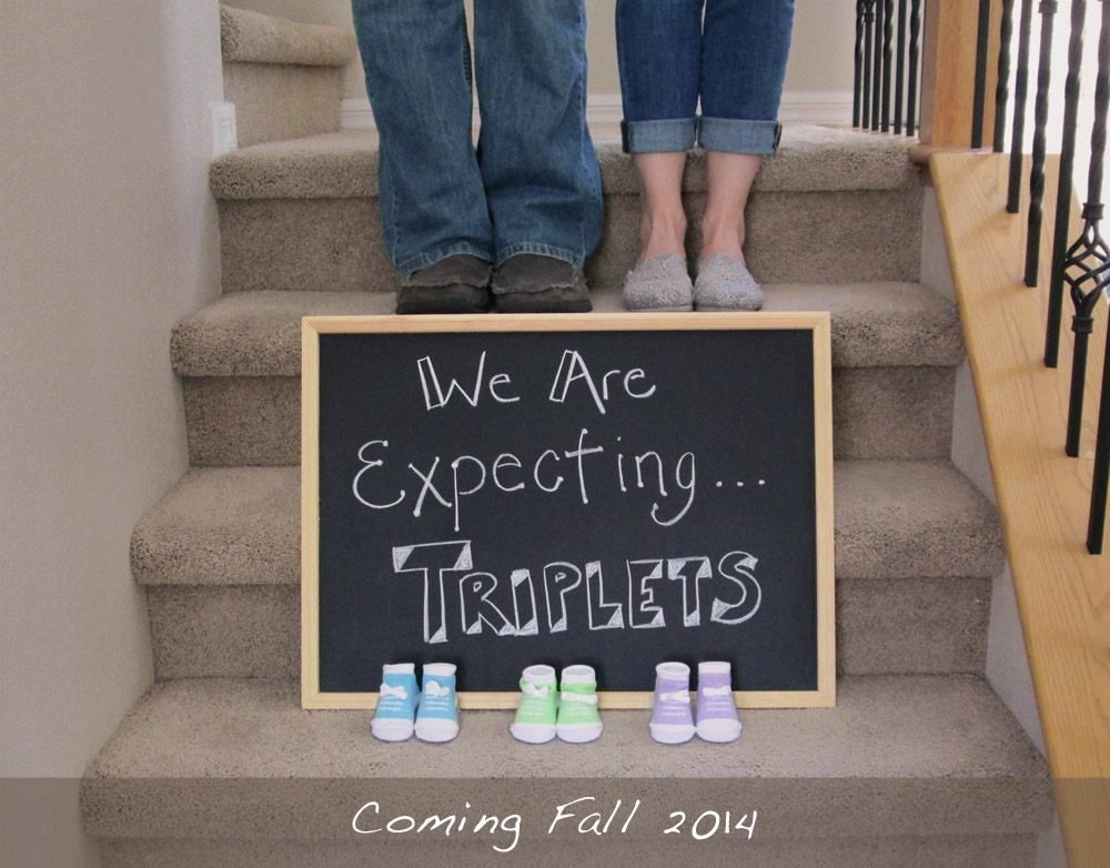 Triplets Digital Pregnancy Announcement Triplet Reveal Social Media Pregnancy Announcement Idea Expecting Three Facebook Instagram