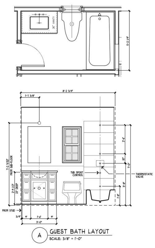 Small Bathroom Floor Plans Autocad: 5 Designs For An 8-by-5-Foot Bathroom