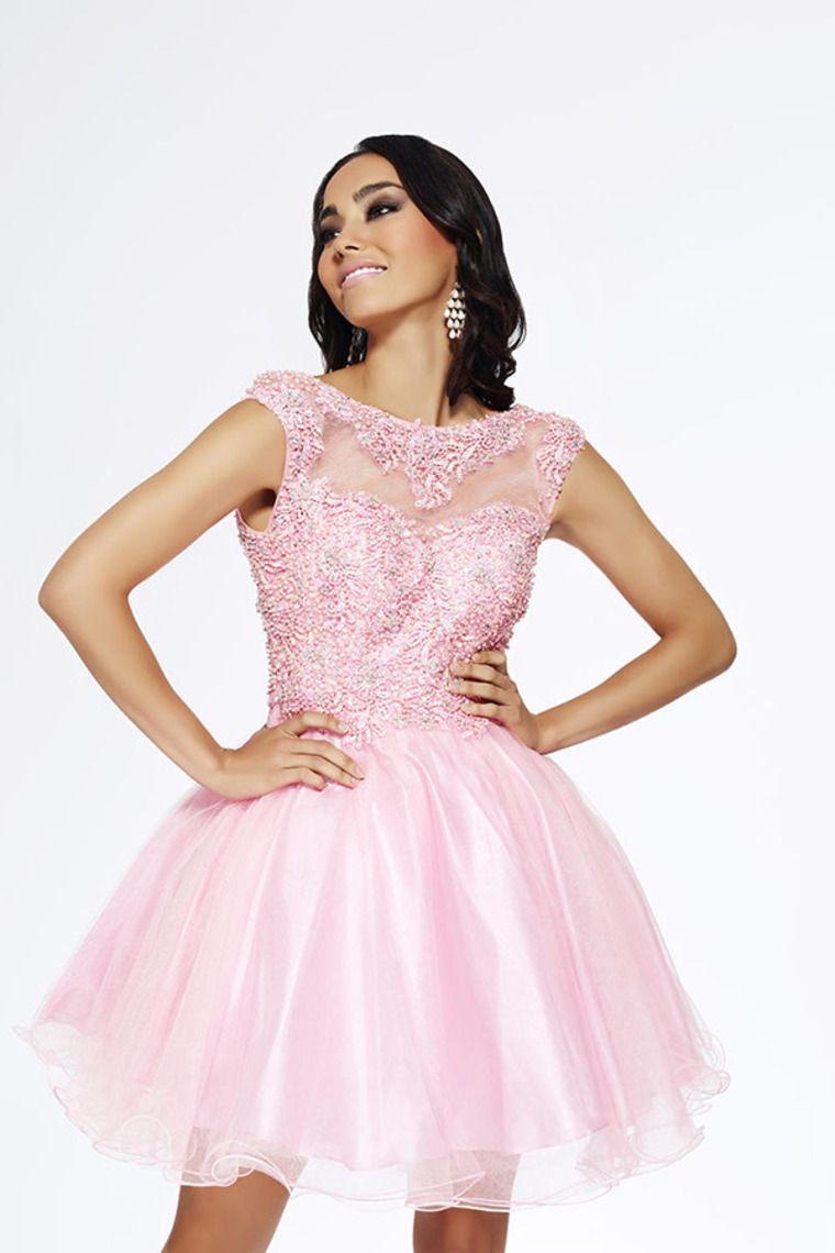2014 Bateau Low Back Short/Mini A Line Tulle Prom Dress Embellished ...
