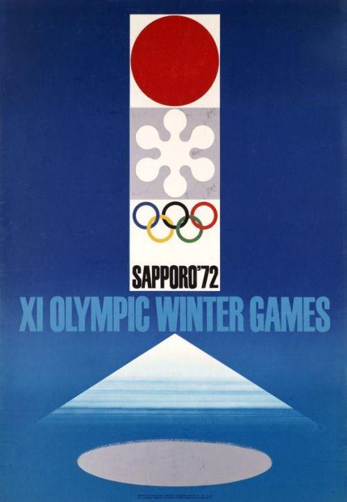 Japanese Poster Sapporo 72 Winter Olympic Games Takashi Kono 1972