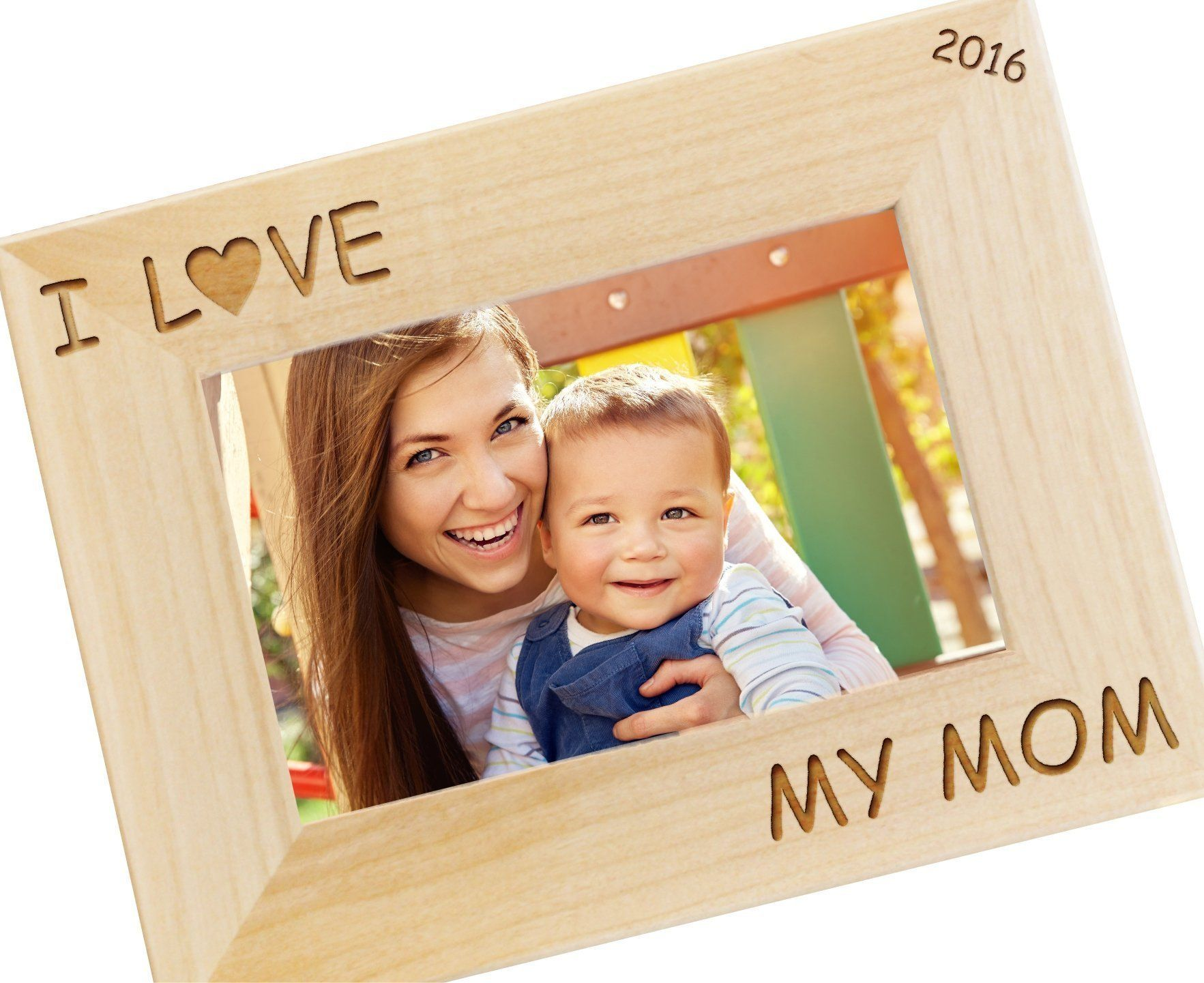 I Love My Mom Personalized Picture Frame - Custom Engraved Photo ...