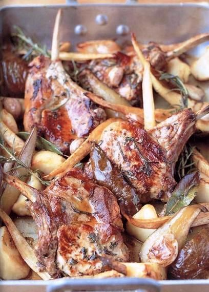 traybaked pork chops with herby potatoes parsnips pears and minted bread sauce  recipe