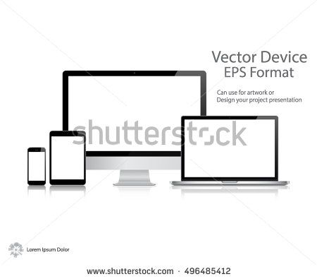 Computer Monitor Laptop Tablets And Smartphone With Black Screen Vector Illustration