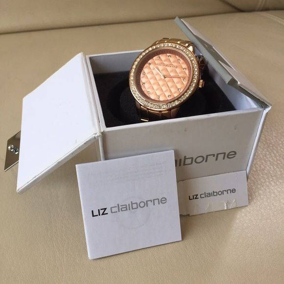 Studded Rose Gold Watch! Beautiful studded Rose Gold Watch. Slight discoloration of strap. No scratches on dial. Liz Claiborne Jewelry