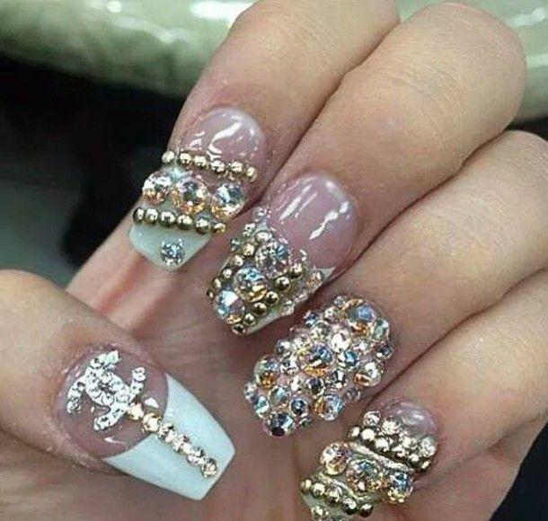 Nail Polish Nail Art Diamonds Chanel Cute With Images