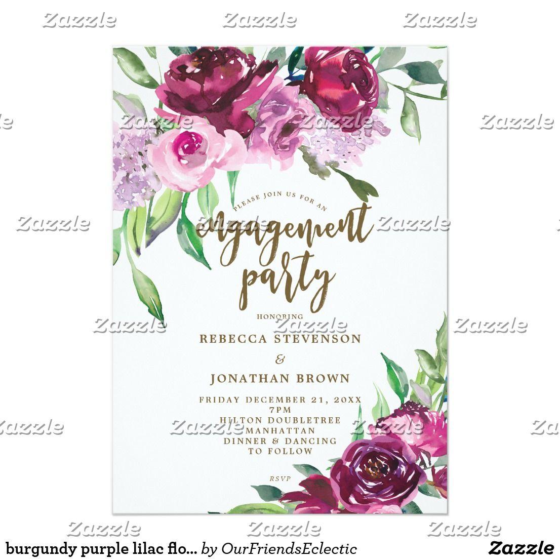 burgundy purple lilac floral engagement party invitation