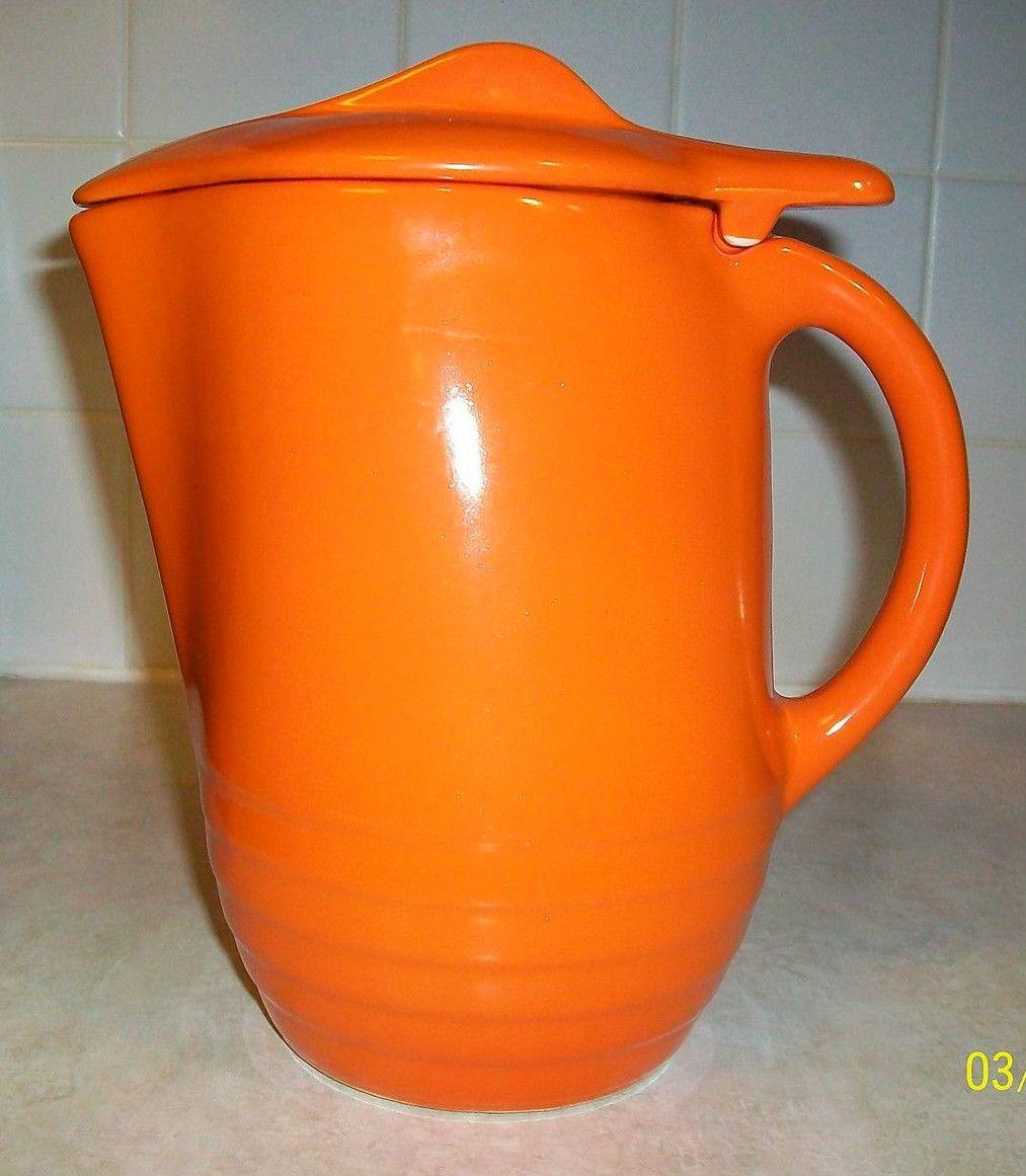 Universal Cambridge 1930s rare orange refrigerator pitcher
