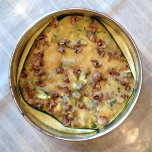 Quiche spinazie, courgette, champignon. Kan met en zonder korst
