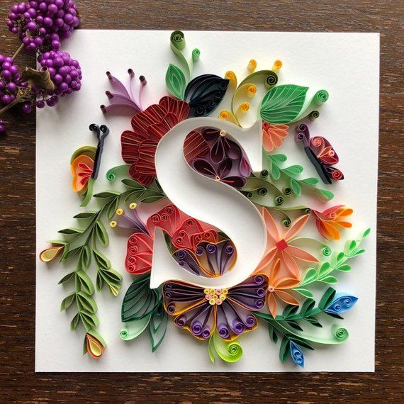 Quilling Personalized Letters S Wall Art For Initials Name Etsy Paper Quilling Designs Paper Quilling Patterns Quilling Letters