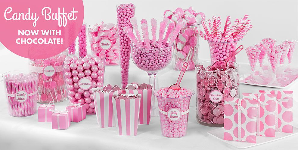 Light Pink Candy Buffet Supplies Containers Party City