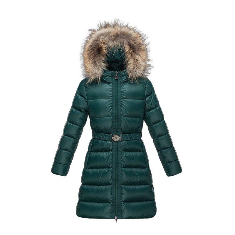 Kids Moncler Emerald Green Nantesfur Fur Hood Down Quilted Coats ... 8c54e87a508