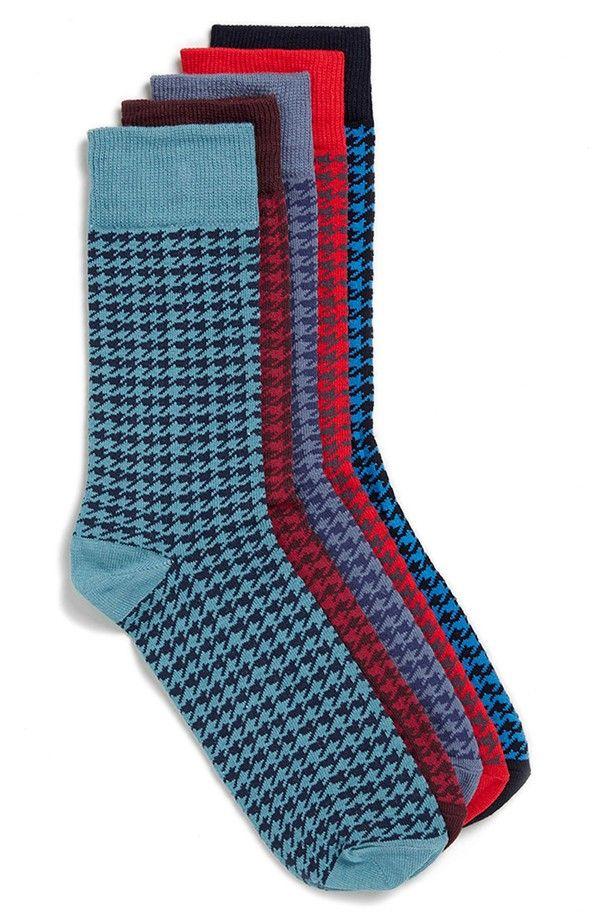 Topman Bright Houndstooth Pattern Socks (5-Pack)