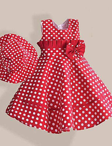 Vestido Chica de-Casual/Diario-Lunares-Algodón-Verano / Primavera-Rojo 4984214 2016 – $18.99