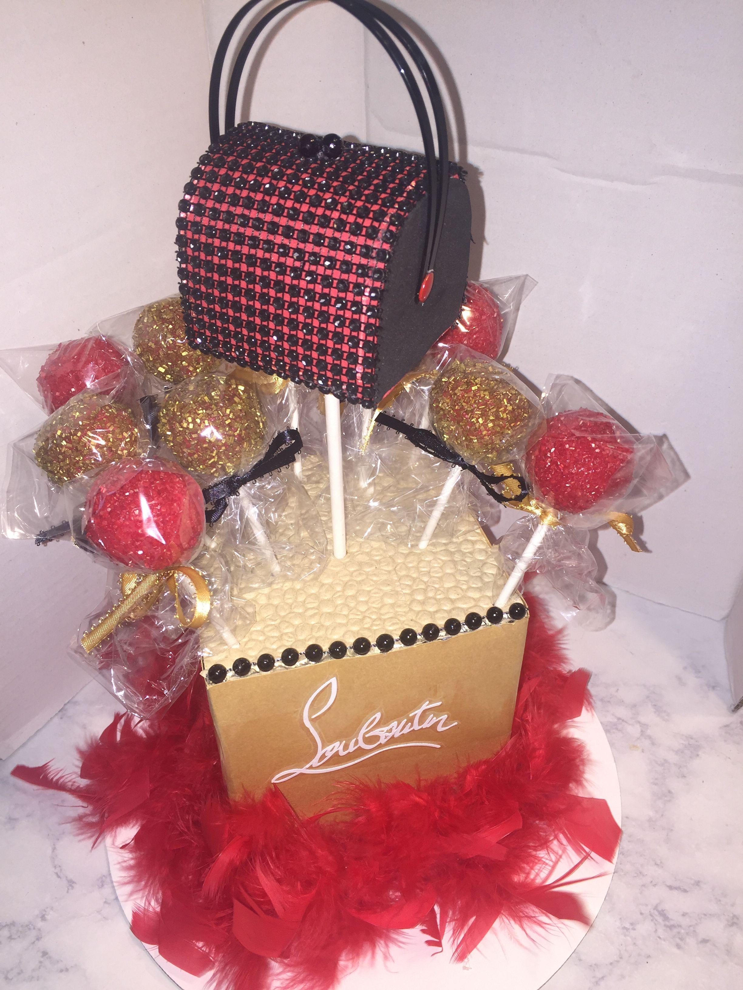 Christian louboutin themed cake pops bagspurse i made
