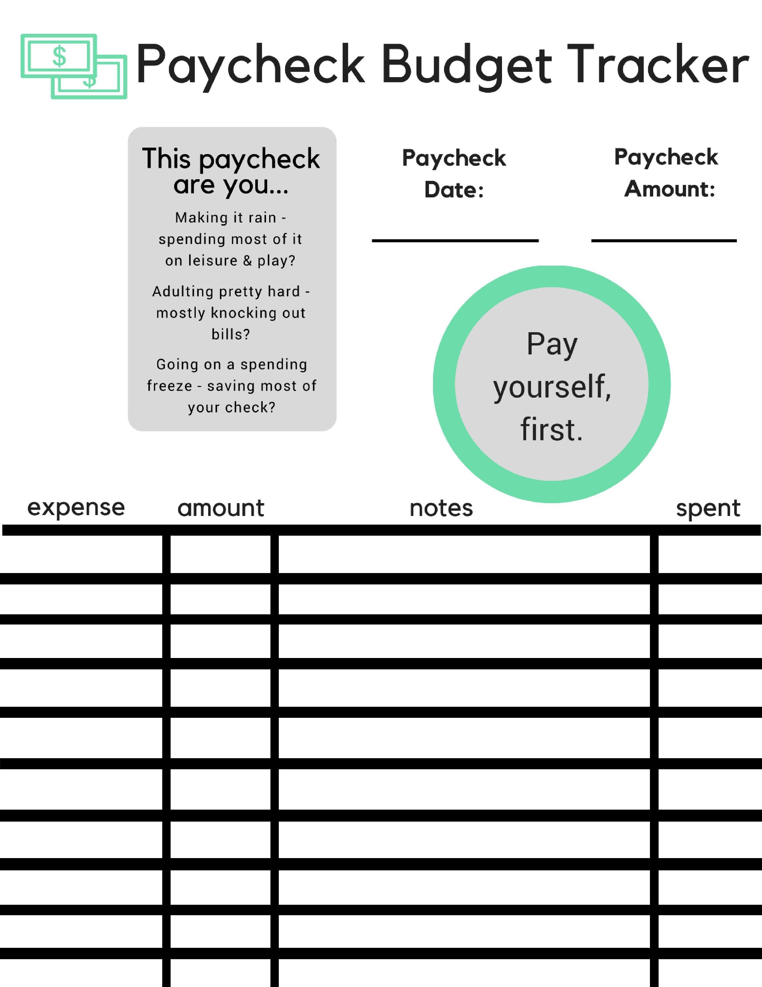 Paycheck Budget Tracker