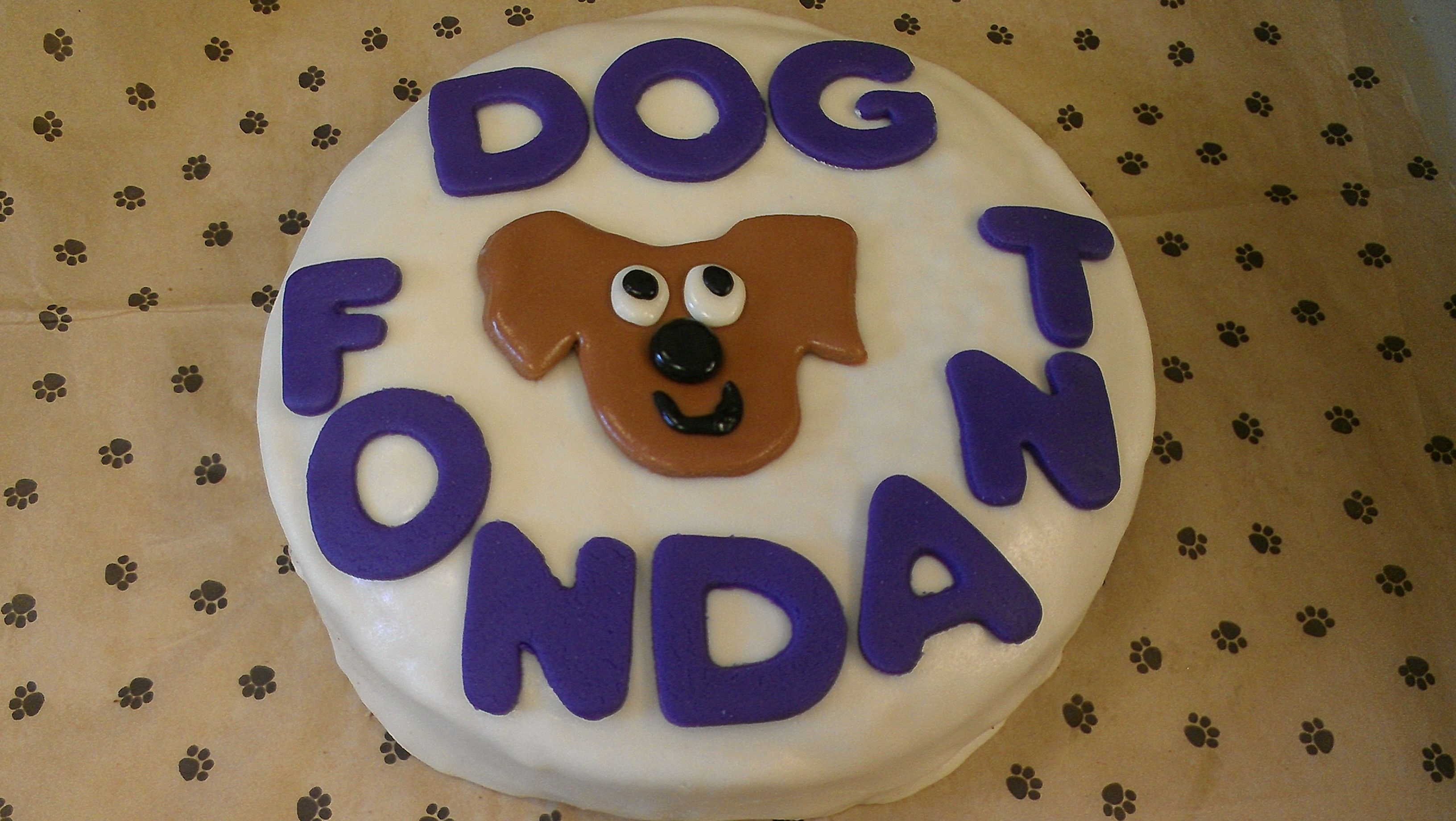 A Doggy Cake Covered In Treaty Treat Dog Safe Fondant From Www