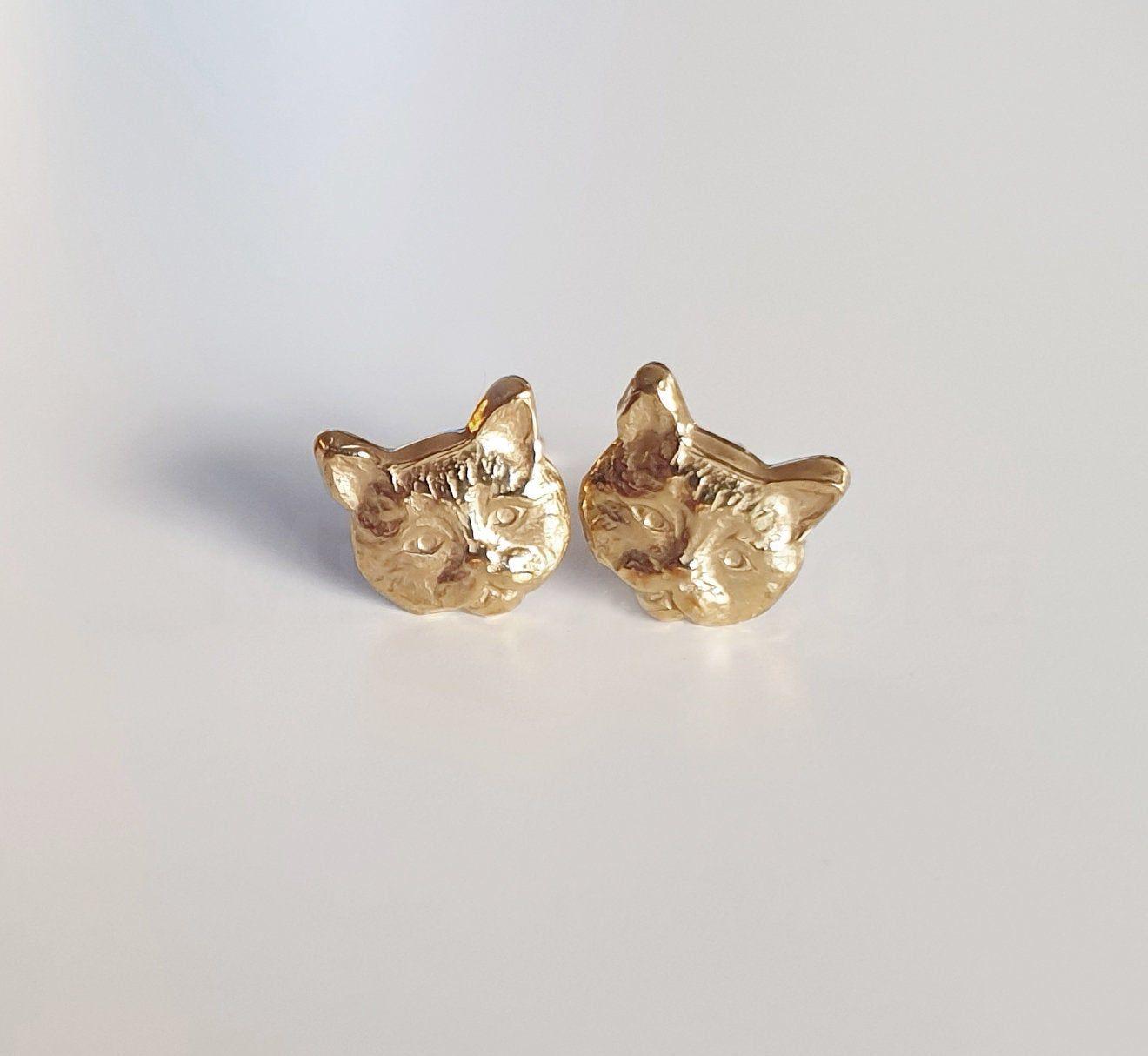 Animal jewellery Dainty cat pendant Cute cat necklace and earrings. Cat jewellery Cat necklace and earring set
