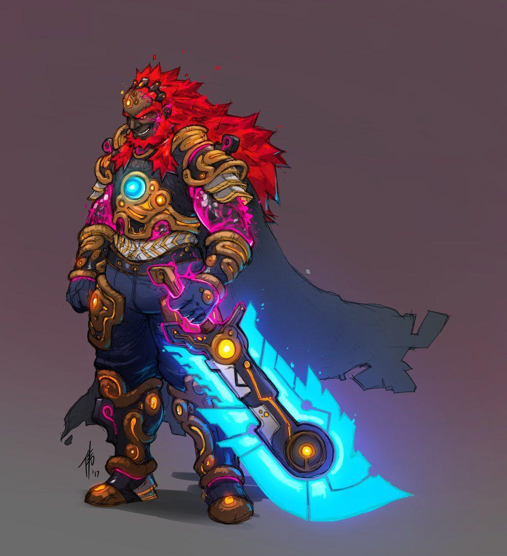 Ancient Armored Ganondorf Wielding Ancient Sword Breath
