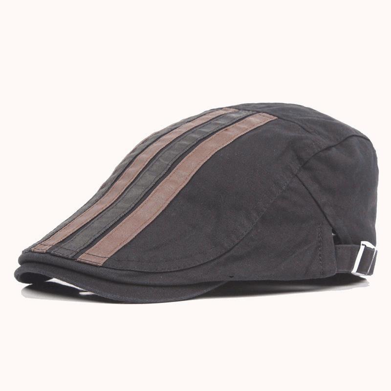 3f492c71b76dd tsLook 2017 New Hats Men s Caps Faux PU Leather Black Beret Hat Autumn  Winter Visor Caps Fashion Berets BF-168