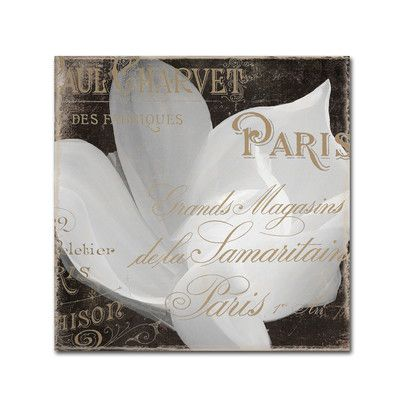 "Trademark Art 'Fleurs Blanc II' by Color Bakery Graphic Art on Wrapped Canvas Size: 18"" H x 18"" W x 2"" D"