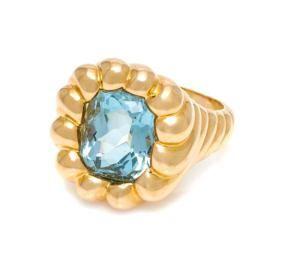 An 18K Yellow Gold and Aquamarine Turban Ring, Verdura