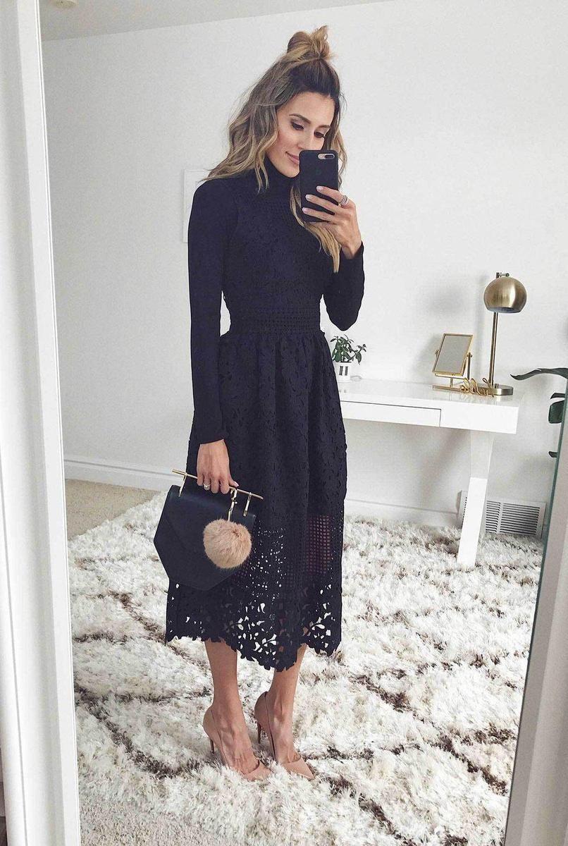 32+ High neck long sleeve dress info