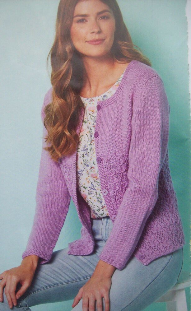 Ladies cable summer CARDIGAN KNITTING PATTERN DK 28 - 62 ...