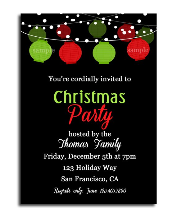 Christmas Paper Lantern Invitation Printable Or Printed With FREE