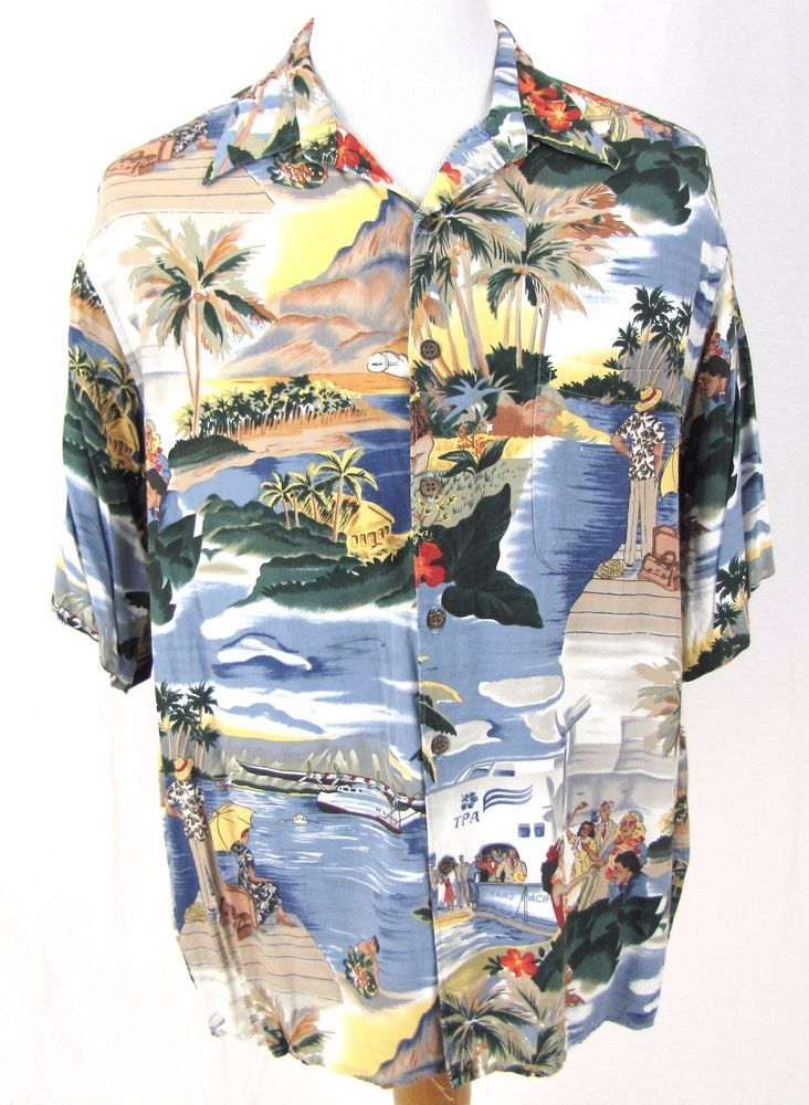 21d492b3 Reyn Spooner Hawaiian Shirt XL TPA Trans Pacific Honolulu Clipper Plane  Airline #ReynSpooner #Hawaiian