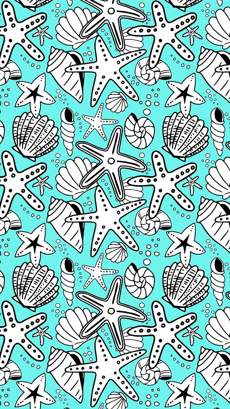 seashells and starfish_turquoise