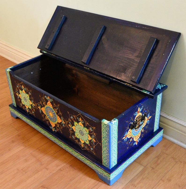 Painted Chest Trunk Boho