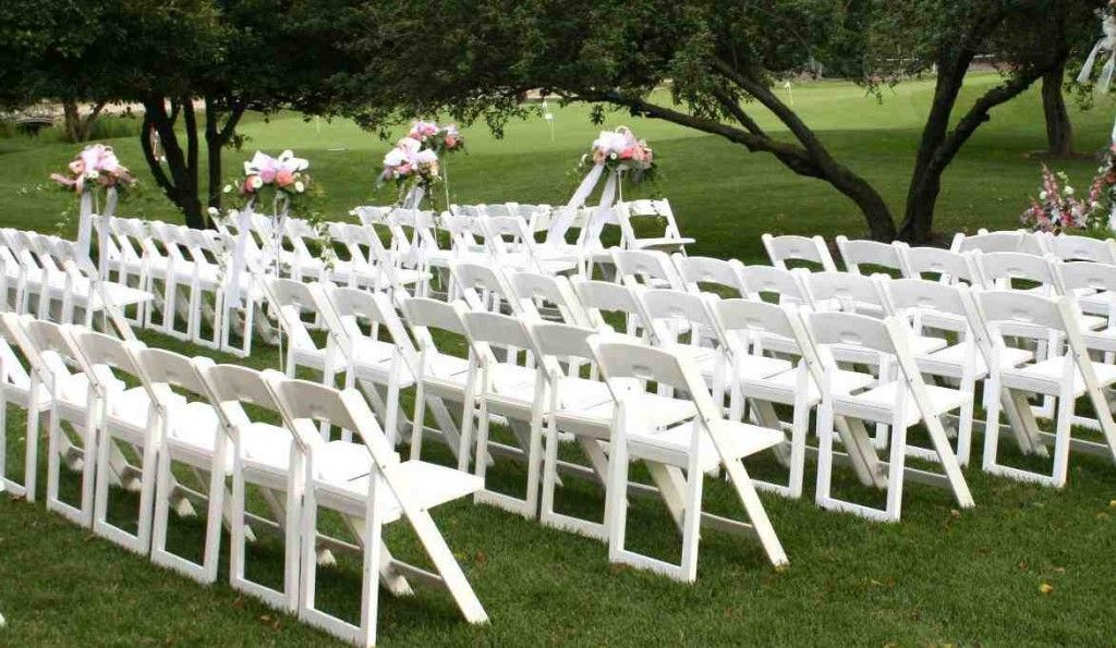 White Resin Folding Chairs Wholesale Romantic Garden Wedding