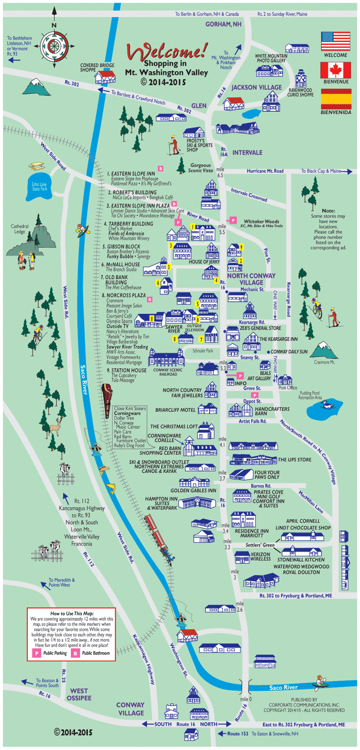 North Conway, NH Outlets and New Hampshire shopping map and