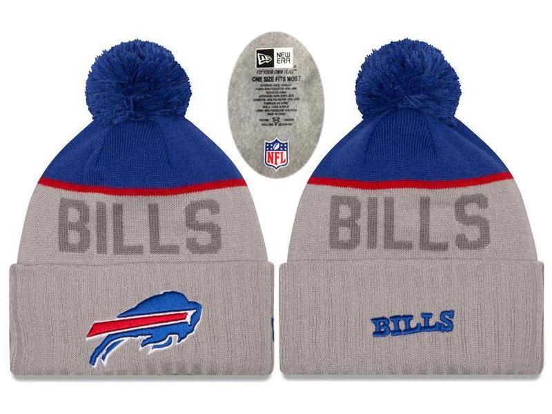 8b391cdd61c Mens   Womens Buffalo Bills New Era 2016 NFL Playoffs Popular Fashion Gray Sport  Knit Pom Beanie Hat - Blue   Grey