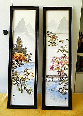 2 Vintage Japanese Hand Painted Tiles Framed Wall Hangings Signed Frames On Wall Painting Painting Tile