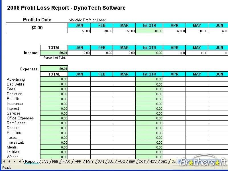 Free profit loss statement form download free profit loss report - Financial Spreadsheet For Small Business
