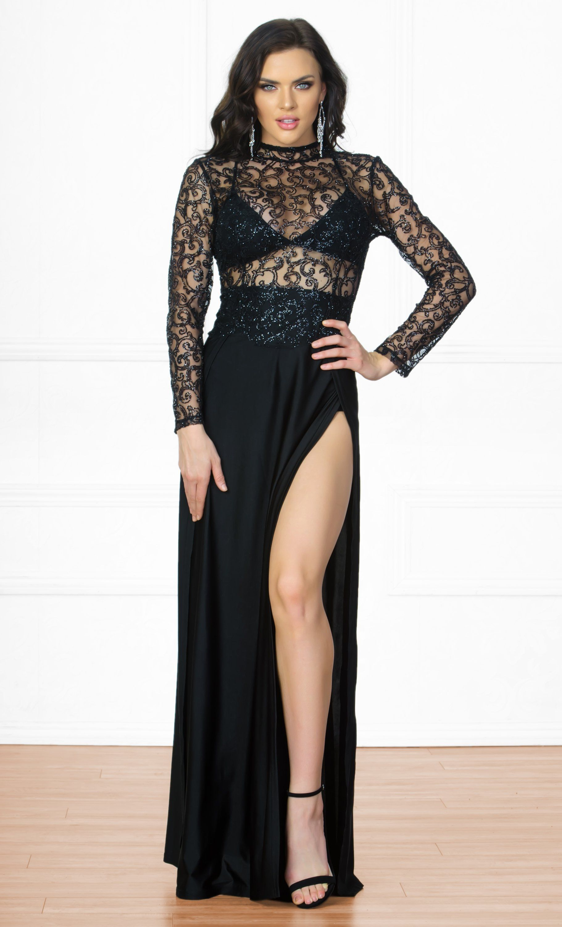 c0779642392 Indie XO High Drama Black Glitter Sheer Mesh Long Sleeve Mock Neck Cut Out  Back Double Slit Maxi Dress