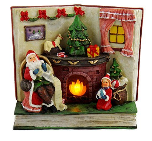 Christmas Book Shaped Lighted Santa By Fireplace Figurine Decor (Green Base). #SantaClaus #Santa #Claus #Christmas  #Figurine #Decor #Gift #gosstudio .★ We recommend Gift Shop: http://www.zazzle.com/vintagestylestudio ★