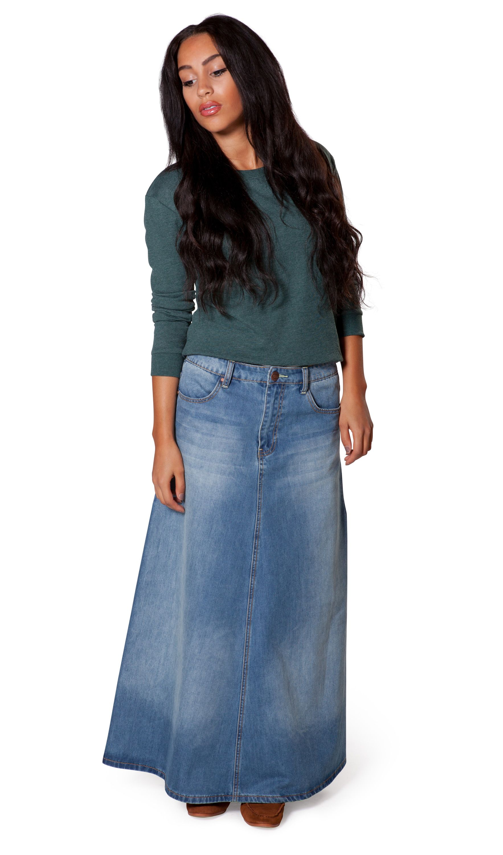 0f0982f97c Attractive & modest A-Line long denim skirt from Uskees. Fashionable medium  weight faded denim maxi skirt. #longdenimskirts #uskees #modestfashion
