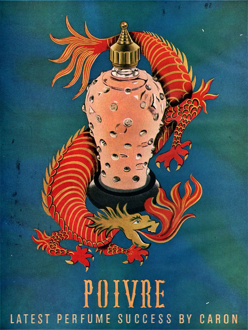 """Vintage Perfume Ad: Caron's Poivre (1954). Pepper, cloves, sandalwood """"held together with an ultra-rich floral heart note, typical of CARON, and woody base notes."""""""