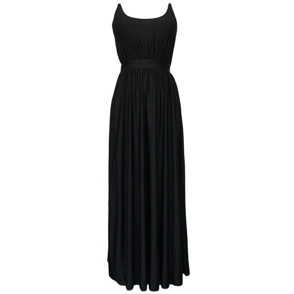 Black Backless Evening Maxi Dress (431555 BYR) ❤ liked on Polyvore featuring dresses, black, formal dresses, maxi cocktail dress, holiday party dresses, sexy cocktail dresses and long formal dresses