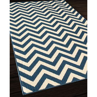 Indoor/Outdoor Navy Chevron Rug (1'8 x 3'7) - Overstock Shopping - Great Deals on Accent Rugs