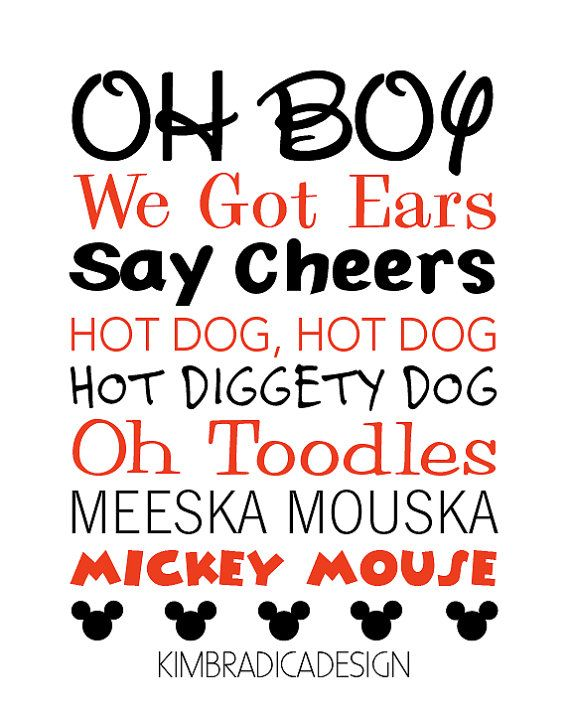 9bf174d8c Mickey Mouse Clubhouse Mickey Quotes, Digital Print   Mickey Mouse ...
