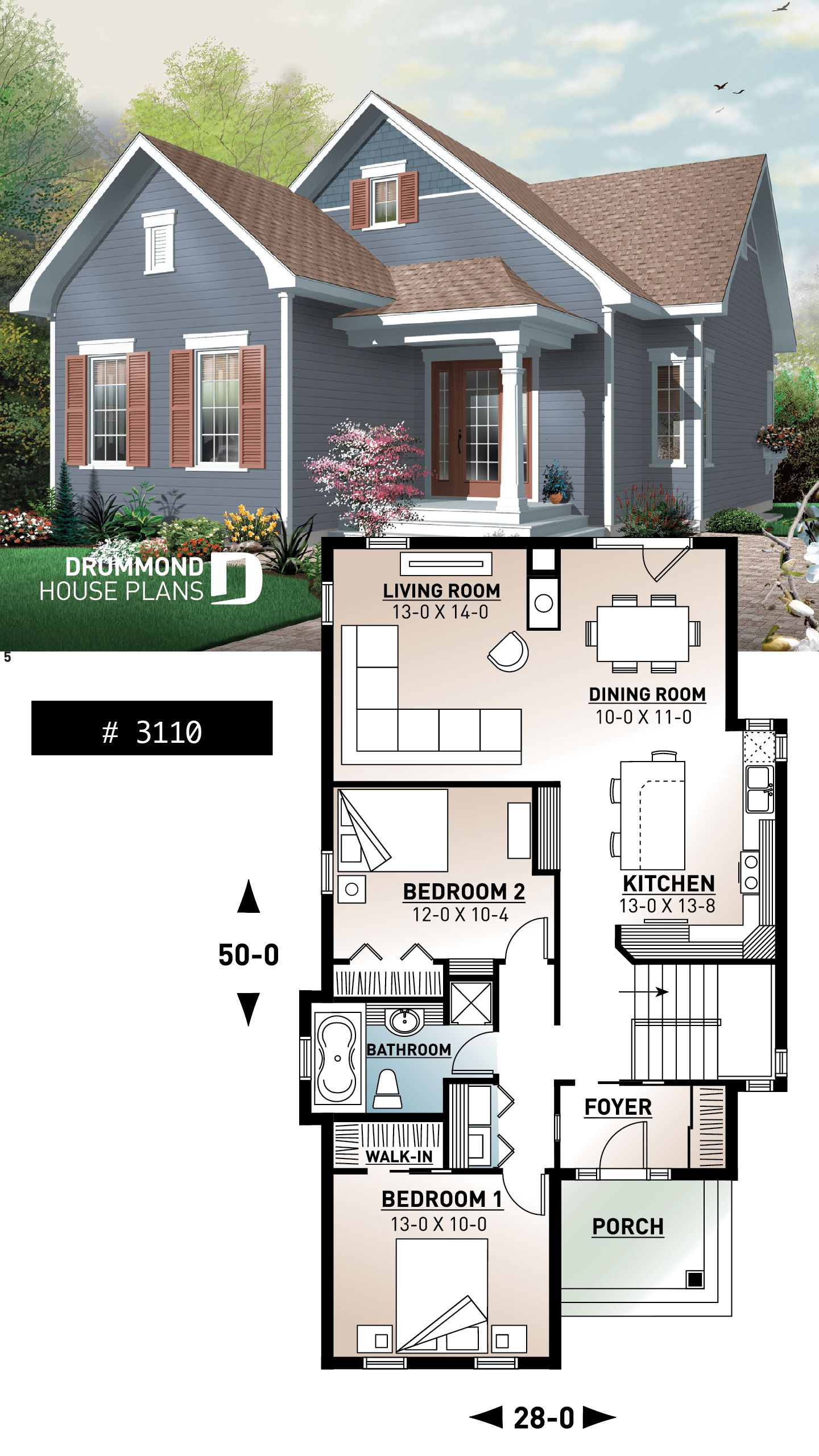 Cape cod bungalow house plan spacious 2 bedroom fireplace ideal for narrow lot